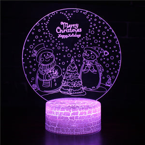 Winter Snowy Day Snowman Christmas Tree 3D Night Light