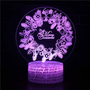 Christmas Ribbon Wreath Ornament Decoration 3D Night Light