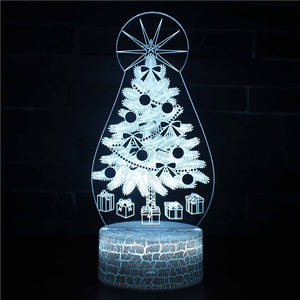 Winter Christmas Tree Snowflake 3D Night Light
