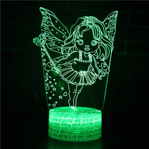 Cute Kids Fairy 3D Night Light
