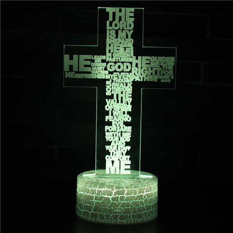 Religious Lord Quotes Cross 3D Night Light