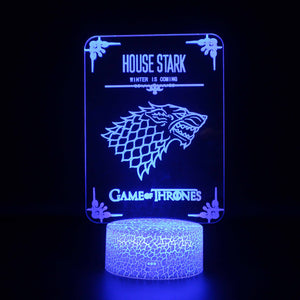 House Stark Game of Thrones 3D Night Light
