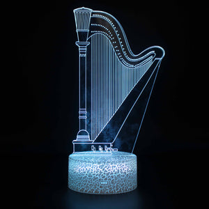 Stringed Musical Instrument Harp 3D Night Light