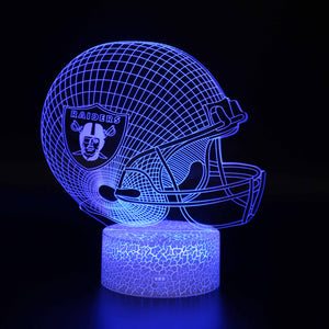 Oakland Raiders NFL Football Helmet 3D Night Light