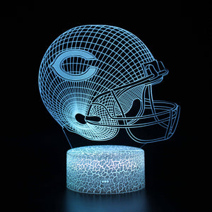 Chicago Bears NFL Football Helmet 3D Night Light