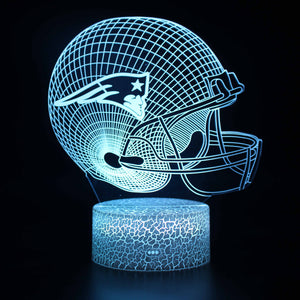 New England Patriots NFL Football Helmet 3D Night Light