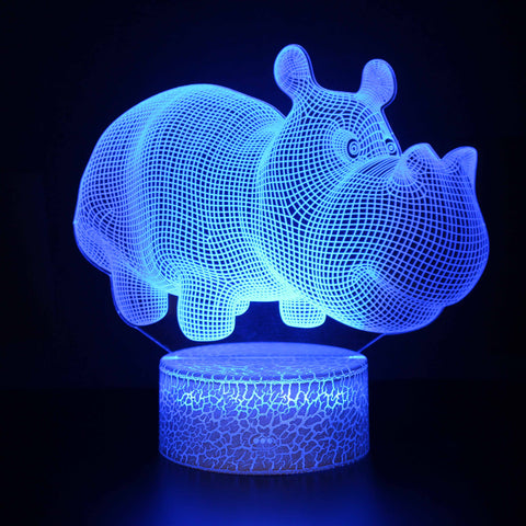 Cute Cartoon Rhino Rhinoceros 3D Night Light