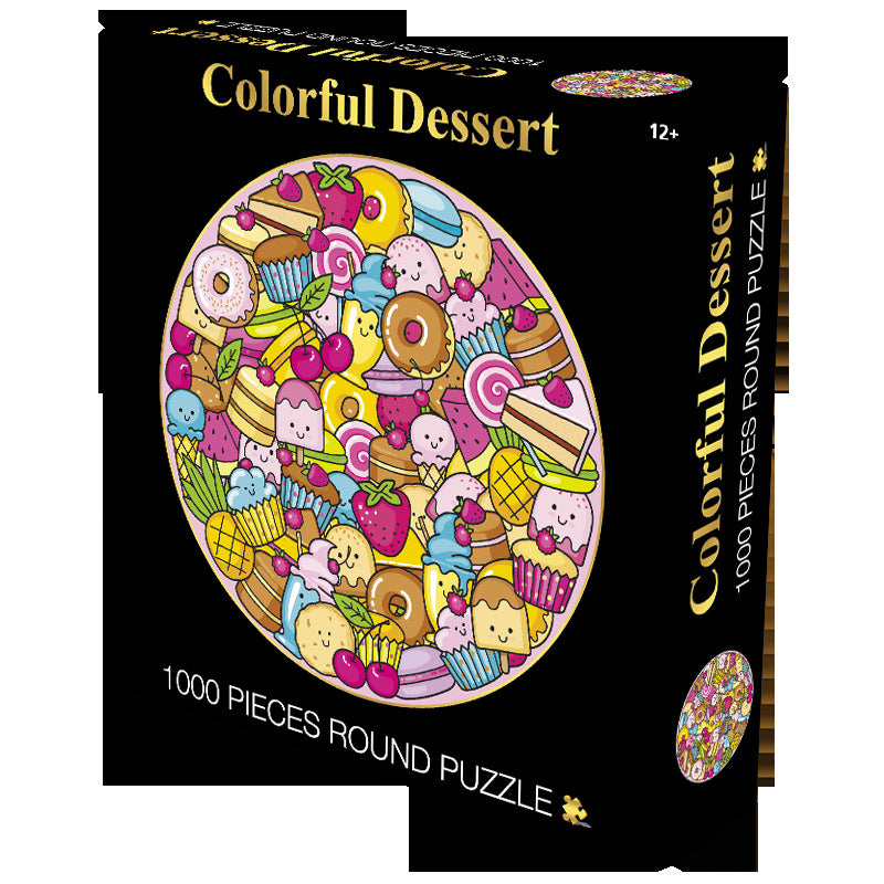 Multi Color Cute Dessert Drawing 1000 Piece Circle Round Jigsaw Puzzles