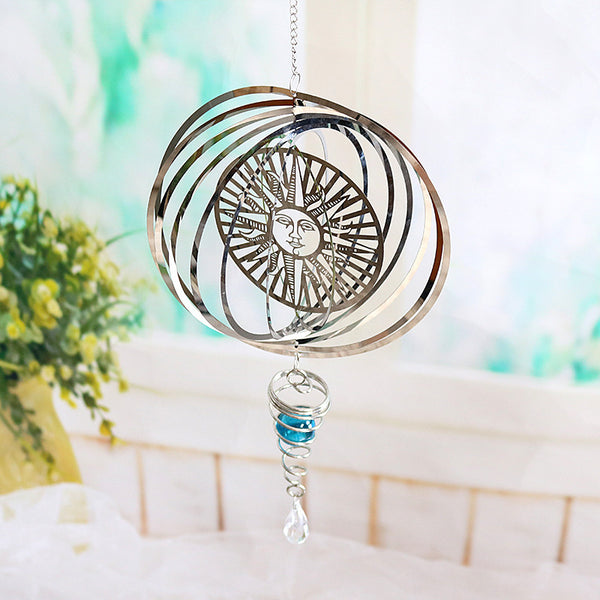 Tarot Sun And Moon Wind Spinner Hanging Spiral Reflective Garden Spinner