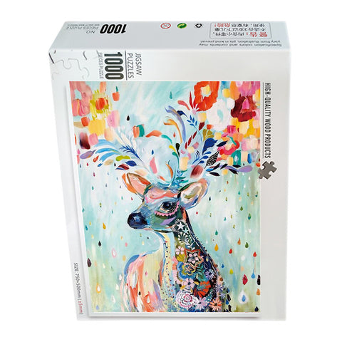 Oil Painting Deer 1000 Pieces Jigsaw Puzzles