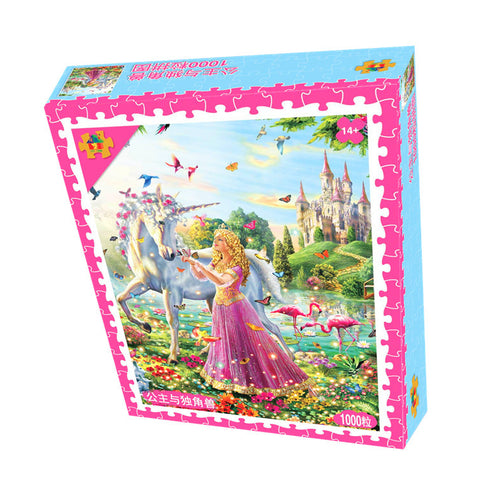 Princess with Unicorn and Butterflies Castle 1000 Pieces Jigsaw Puzzles
