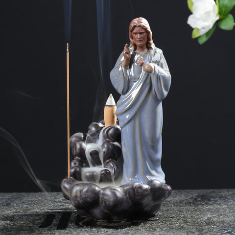 Religious Style Standing Jesus with River Backflow Incense Burner