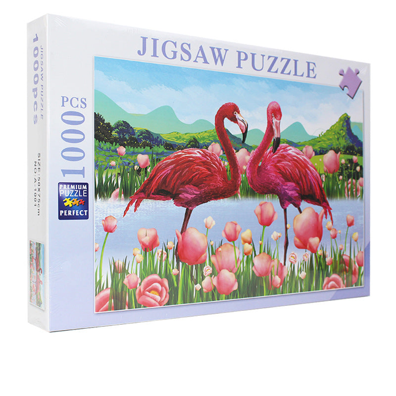Romantic Tulip Flower with Pink Flamingo 1000 Pieces Jigsaw Puzzles