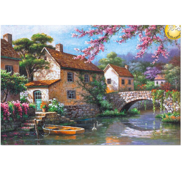 Spring Countryside View Rural Bridge River 1000 Pieces Jigsaw Puzzles