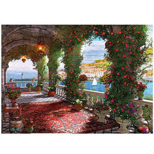 Spring Garden Flowers at Balcony 1000 Pieces Jigsaw Puzzles