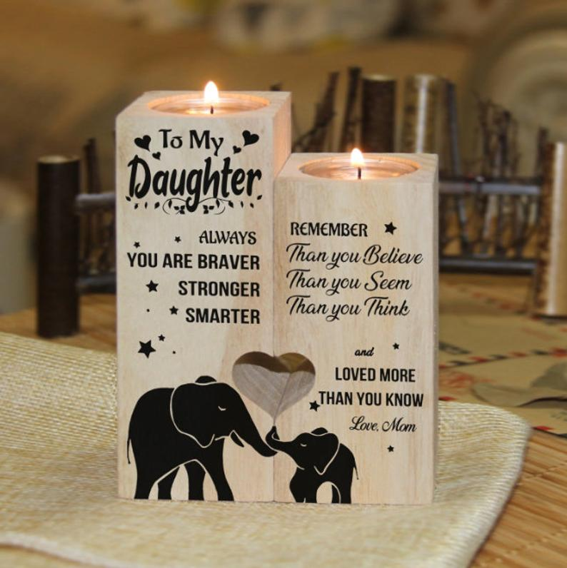 To Daughter Elephant Engraved Wood Heart Candle Holders Birthday Tea Light Holder