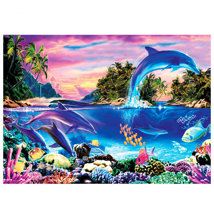 Undersea Creature World with Dolphin 1000 Pieces Jigsaw Puzzles