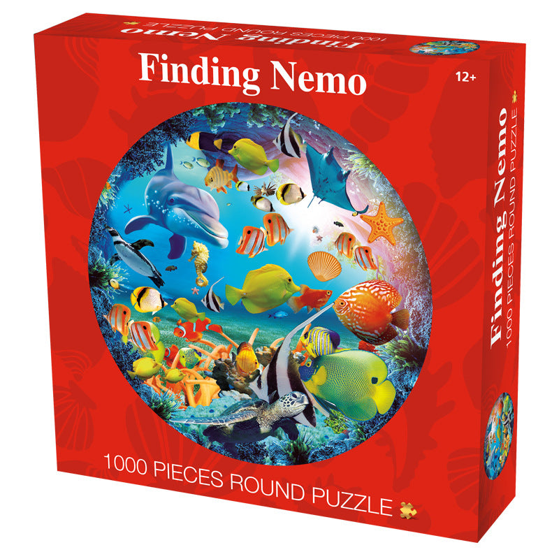 Underwater World Sea Life Creature 1000 Piece Circle Round Jigsaw Puzzles