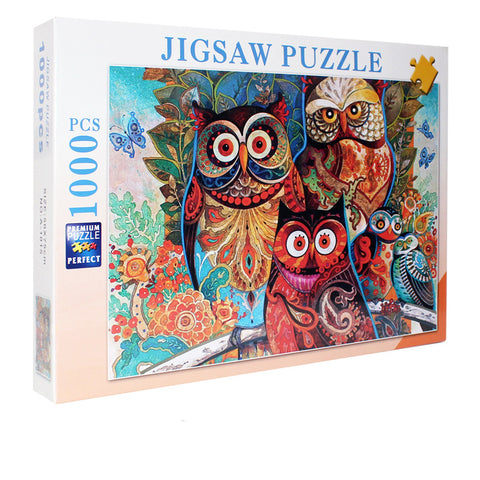 Unique Animal Family Art Owl 1000 Pieces Jigsaw Puzzles