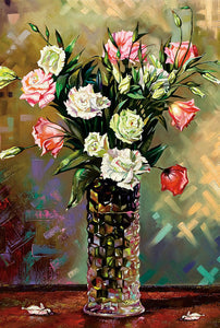 Vase of Rose Flowers Painting 1000 Pieces Jigsaw Puzzles