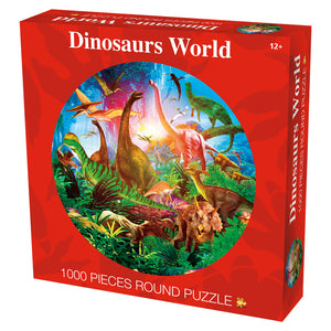 Vivid Color Jurassic World Dinosaurs 1000 Piece Circle Round Jigsaw Puzzles