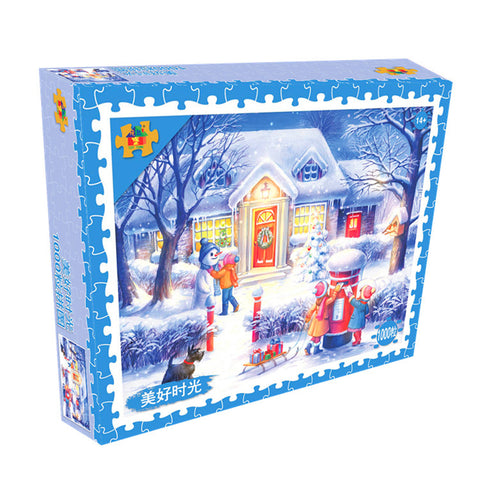 Winter Chirstmas Night Snowman 1000 Pieces Jigsaw Puzzles