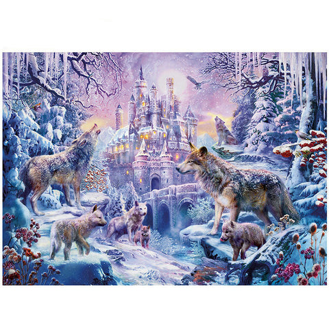 Winter Forest Castle with Wolf 1000 Pieces Jigsaw Puzzles