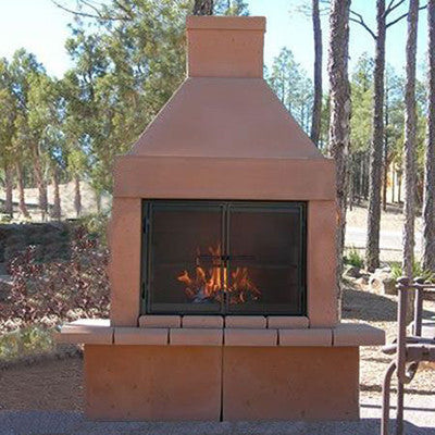 Mirage Stone Open Face Outdoor Woodburning Fireplace (Gas Optional) - ForteFinds