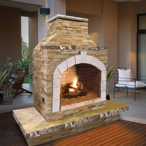 Cal Flame's Outdoor Fireplace (Gas Only)  #FRP909-3 - ForteFinds
