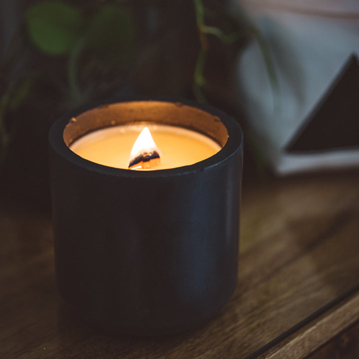 cement candle with a wooden wick