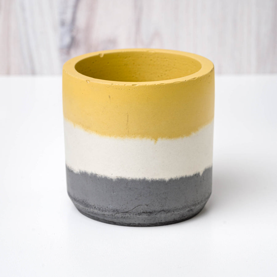 Large Cylinder Vessel - Yellow, White, and Charcoal