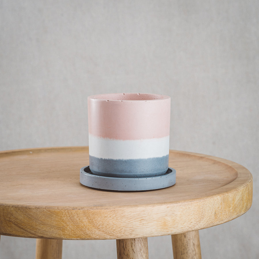Classic Cement Planter + Tray - Blush, White, & Charcoal