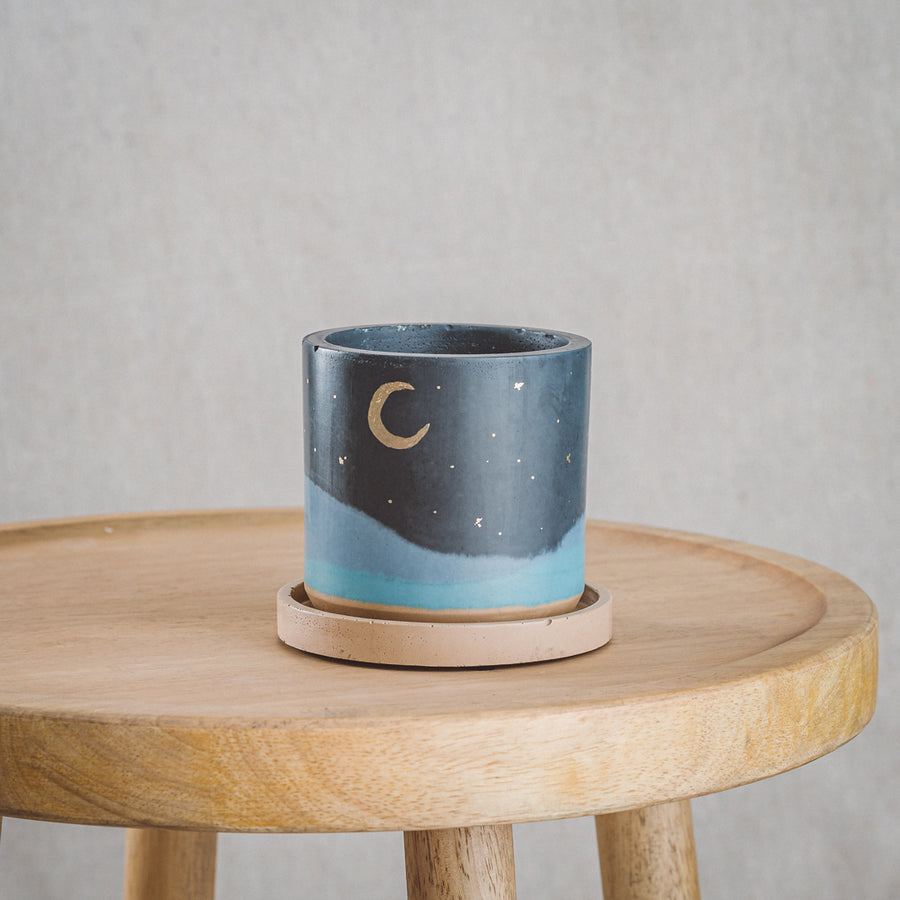 Classic Cement Planter + Tray - Midnight Moon