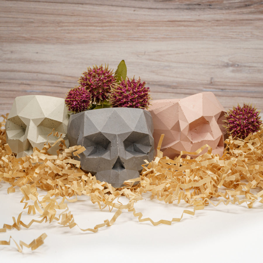 Geometric Skull Vessel - Rust