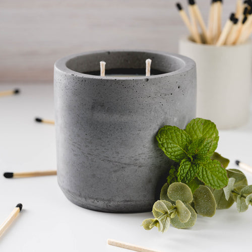 Peppermint + Eucalyptus - Large Cylinder Candle - Charcoal
