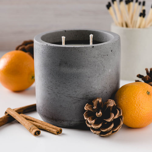 Sweater Weather - Large Cylinder Candle - Charcoal