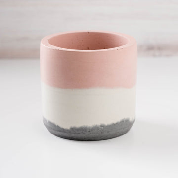 Large Cylinder Vessel - Blush, White, and Charcoal