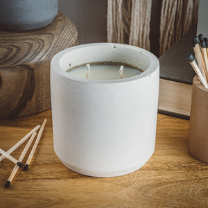 Amber + Moss - Large Cylinder Candle - Natural