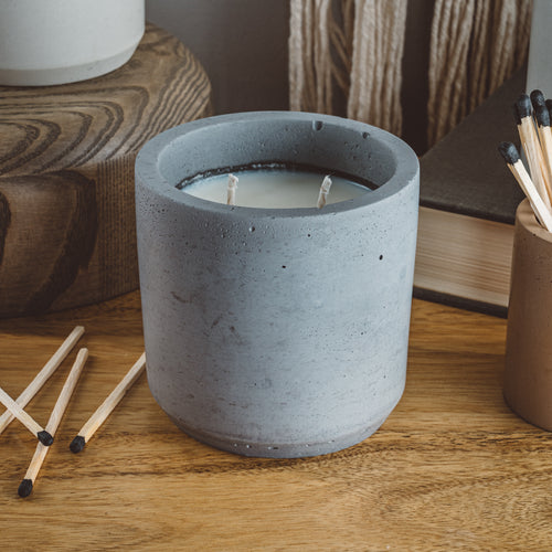 Coastline - Large Cylinder Candle - Charcoal