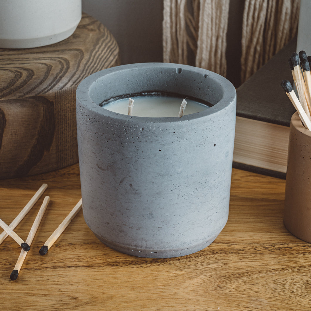 Amber + Moss - Large Cylinder Candle - Charcoal
