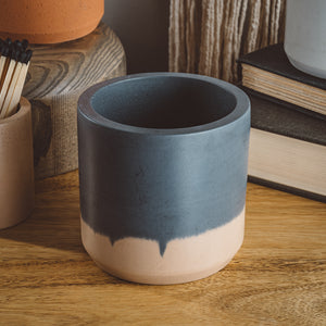 Large Cylinder Vessel - Slate + Tan