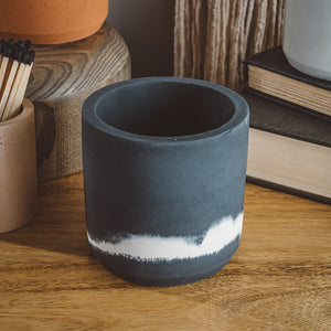 Large Cylinder Vessel - Slate + White