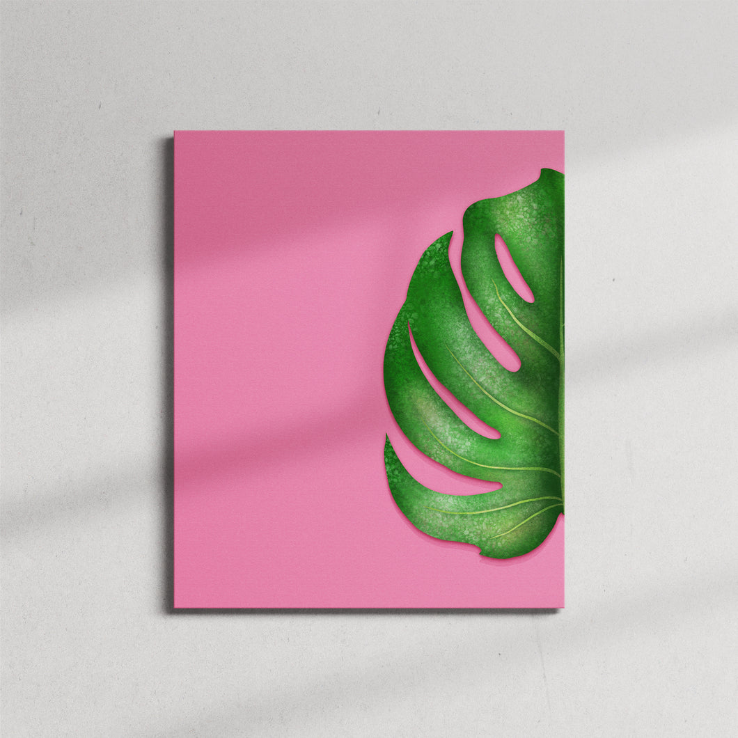 Monstera Half Leaf Left Canvas Print