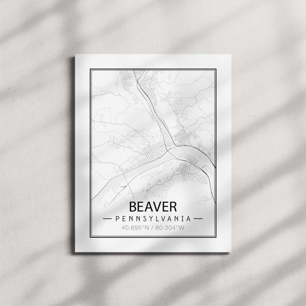 Map of Beaver, Pa - Black & White Canvas Print
