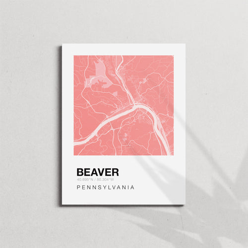 Map of Beaver, Pa - Coral Canvas Print