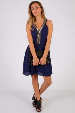 SquareHearts Summer Fashion Deep Blue Party Dress with Details