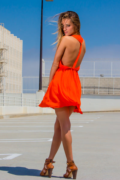 SquareHearts Summer Editorial Orange Summer Style Dress with Details
