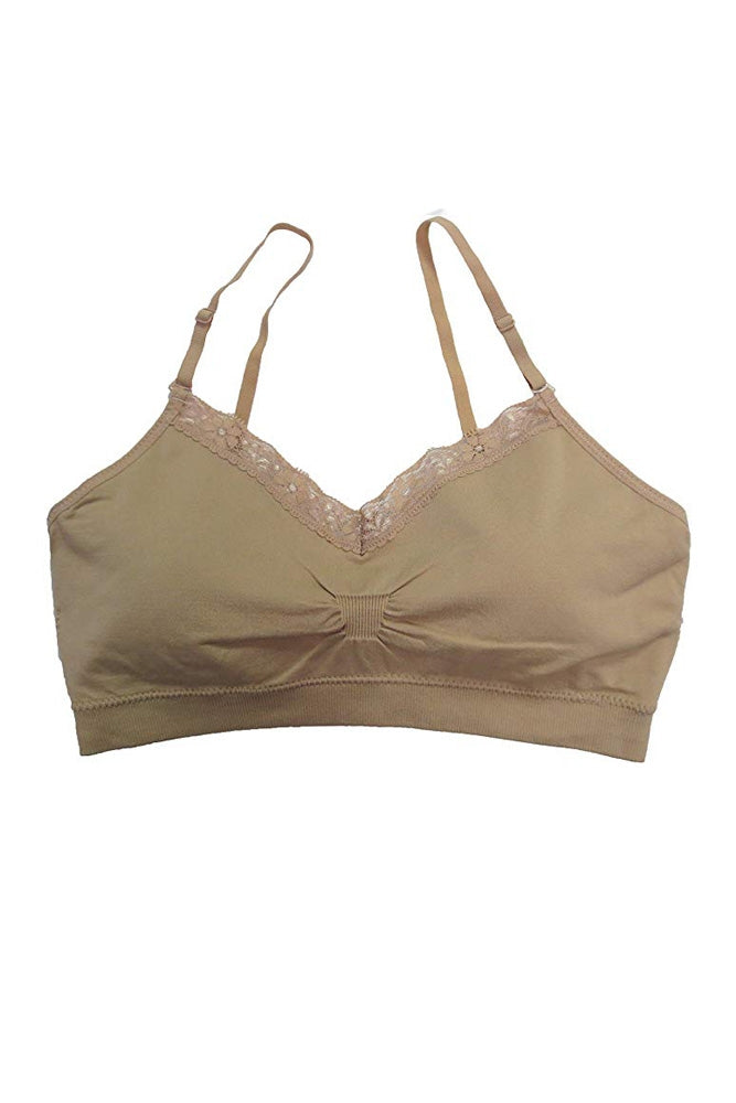 Coobie Padded Seamless V-Neck Bra with Lace (8 Colours)