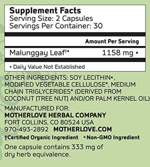Motherlove Malunggay (Moringa) Capsules for Lactation Support