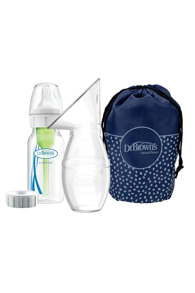 Dr Brown's Silicone Breast Pump with Options+ Anti-Colic Bottle + Travel Bag